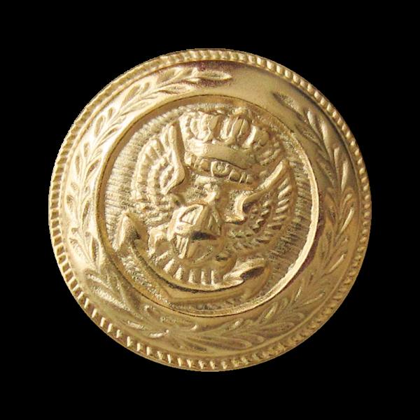Wappen Metall Knopf in Matt Goldfarben
