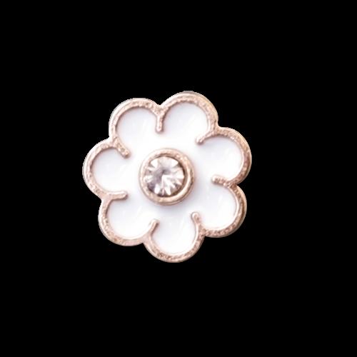 Kleiner Glitzer Knopf in Rosegold Weiß mit Kristallstein wie Blume