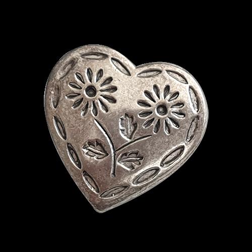 Bezaubernder Metall Knopf in Herz Form mit Blumen