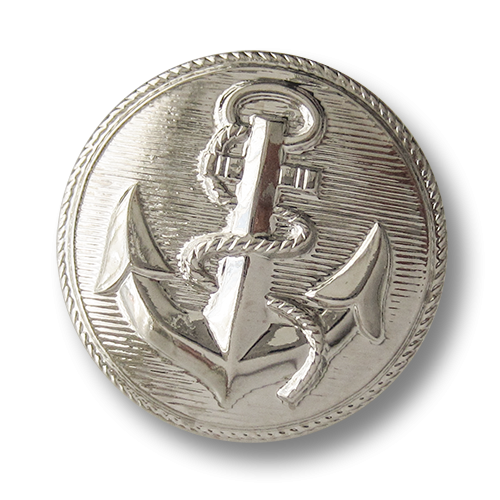 www.knopfparadies.de - 2802si - Silberfarbene Ösenknöpfe aus Metallblech mit Anker