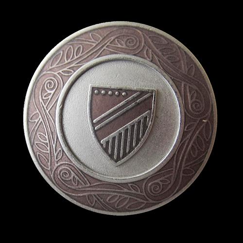www.Knopfparadies.de - 5549br - Edle braun silberne Wappenknöpfe aus Metall mit Zierband