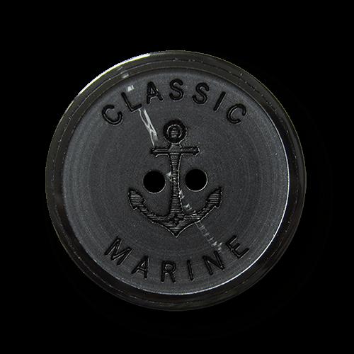 Schwarzer Kunststoff Knopf mit Anker - Classic Marine