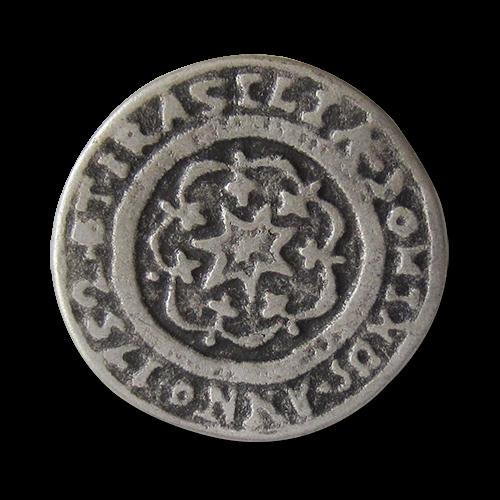 www.Knopfparadies.de - 0321as - Älter wirkende altsilberne Ösen Metallknöpfe mit Stern Motiv und Inschrift