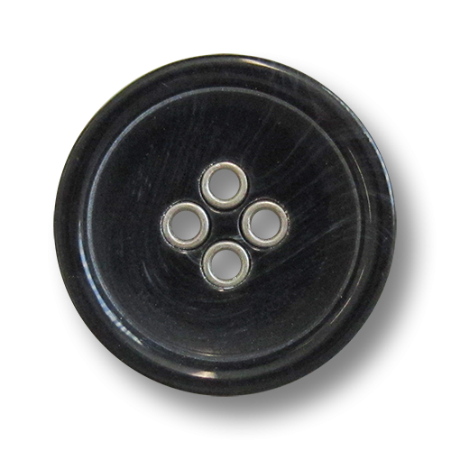www.knopfparadies.de - 5981ss - Schwarze Kunststoffknöpfe mit silberfarbenen Knopflöchern