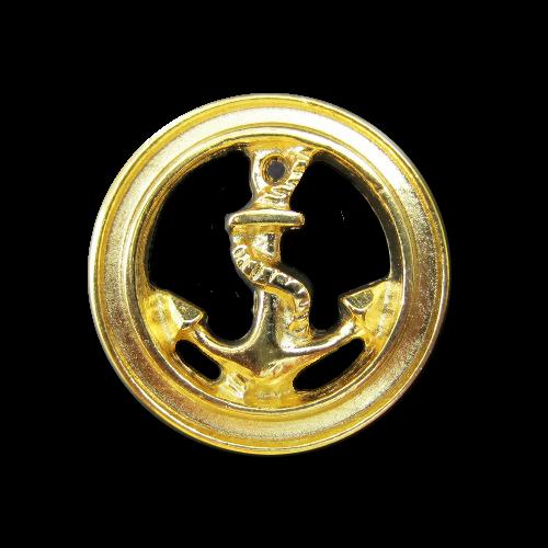 Goldfarbene Metallknöpfe mit Anker Motiv und Durchbruch