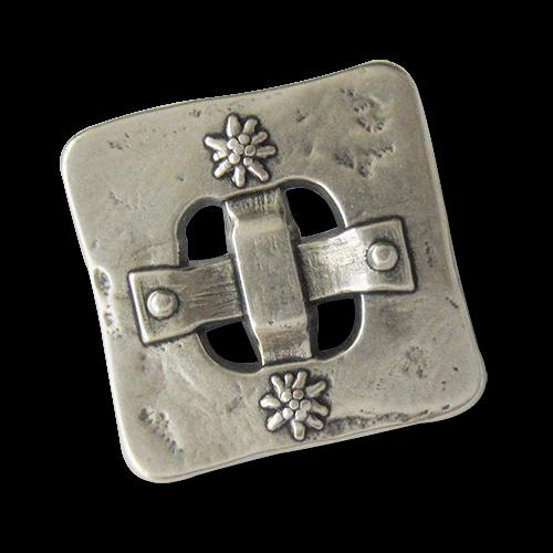 www.knopfparadies.de - 0099sg - Silberfarbene Trachtenknöpfe aus Metall