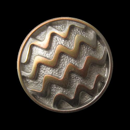 Tricolor Zick-Zack-Metallknopf