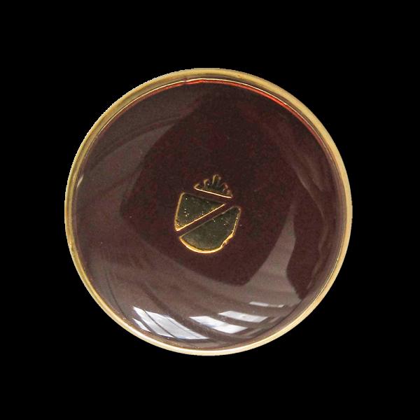 Metall Knopf mit Wappen in glänzend Dunkelbraun und Goldfarben