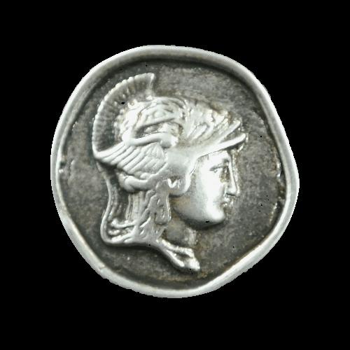 Altsilberfb. Münzknopf mit Hermes-Kopf