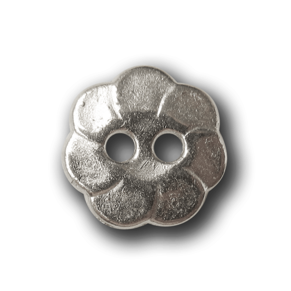 Kleiner silberfarb. Blusen Metall Knopf in Blütenform