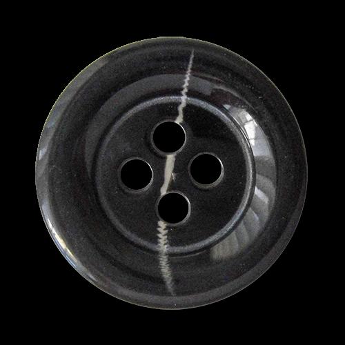 www.Knopfparadies.de - 2470sc - Elegante große Kunststoffknöpfe für Mäntel in Schwarz-Grau