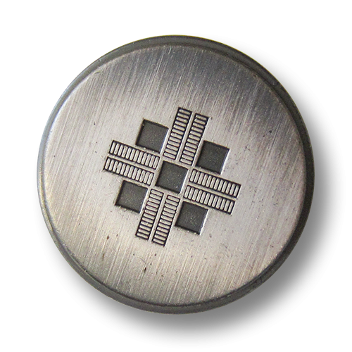 www.Knopfparadies.de - 3075ei - Gebürstete Metallknöpfe mit Kreuz in Eisen mit kleinen Mängeln