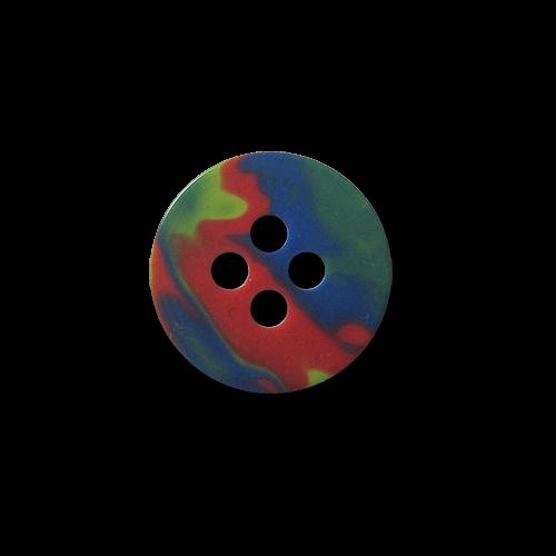 Kleiner dunkel bunt melierter Vierloch Kunststoff Knopf