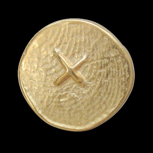 www.knopfparadies.de - 2528gm - Matt goldfarbene Metallknöpfe mit Kreuz