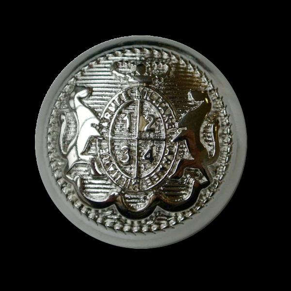 Feudaler glänzend silberfarbener Wappen Metall Knopf