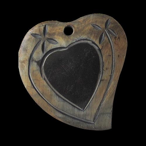 www.knopfparadies.de - 1483bf - Trachtenzubehör: Anhänger in Herzform aus echtem Büffelhorn