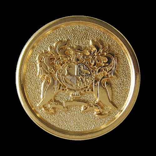 www.Knopfparadies.de - 4101go - Edle Metallknöpfe mit Wappen in Gold