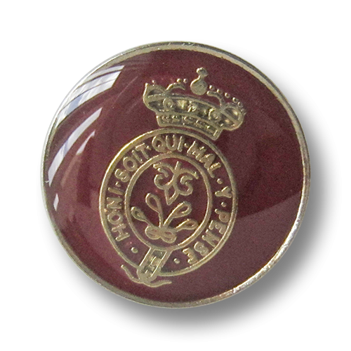 www.Knopfparadies.de - 4244ro - Edle Wappenknöpfe aus Metall in Rot, Silber & Gold