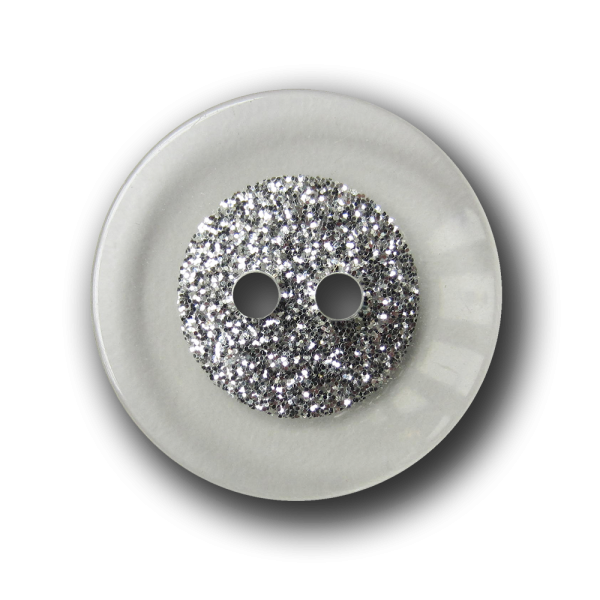 Transparenter Knopf mit auffälligem Silber Glitzer