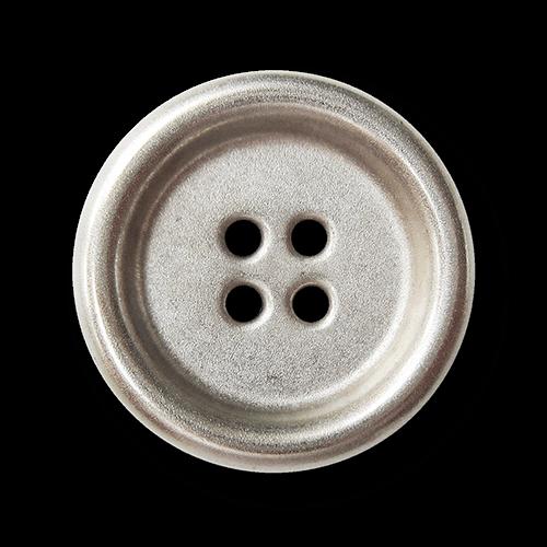 Großer leichter matt silberfb. Knopf aus Metallblech