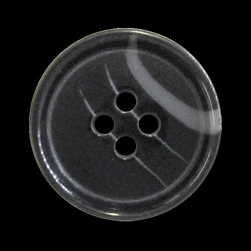 www.Knopfparadies.de - 2722sc - Zeitlose Vierlochknöpfe aus Kunststoff in Schwarz & Grau