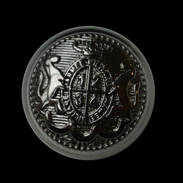 Feudaler glänzend chromfarbener Wappen Metall Knopf