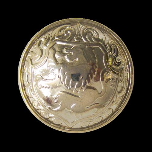 www.Knopfparadies.de - 3113go - Edle goldfarbene Wappenknöpfe aus Metall mit Löwenmotiv