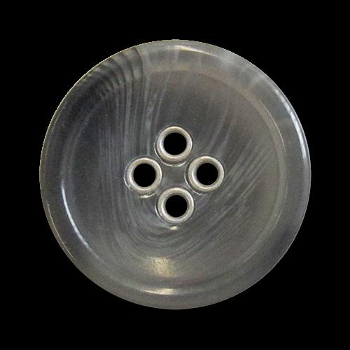 www.knopfparadies.de - 5981gr - Graue Kunststoffknöpfe mit silberfarbenen Knopflöchern