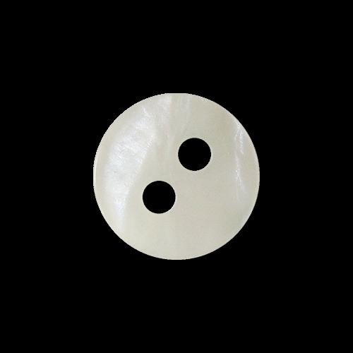 www.Knopfparadies.de - 4410we - Kleine weiß schimmernde Zweiloch Kunststoffknöpfe in Perlmutt-Optik
