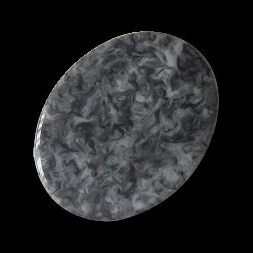 www.Knopfparadies.de - 4403gr - Originelle grau melierte ovale Kunststoffknöpfe wie Granit