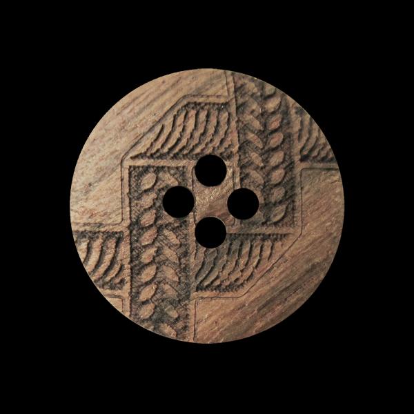 Folkloristisch gemusterter dunkler Vierloch Holz Knopf