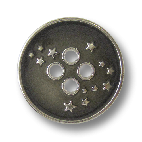 www.Knopfparadies.de - 4276sg - Freche Sternknöpfe aus Metall in Silber & Grau