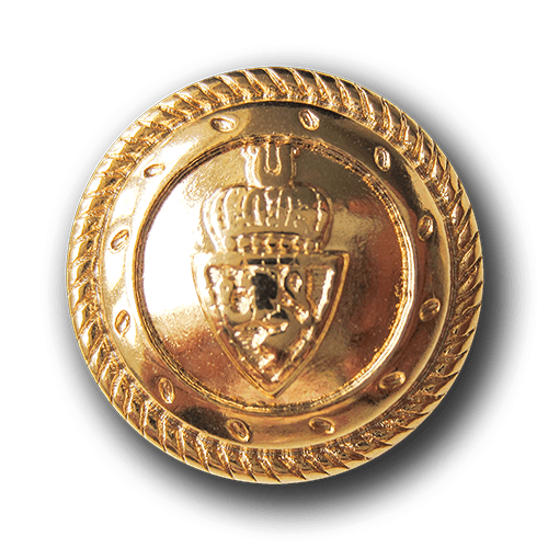 Goldfarbener Wappen Knopf mit Löwe und Kordelrand