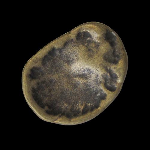 Messingfarbener Metallknopf in Nierenform