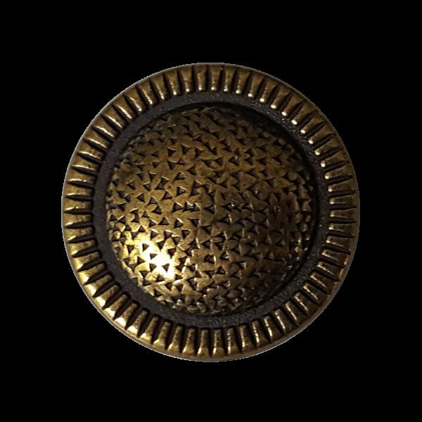 Metallknopf, altmessingfarben, leicht gewölbte Oberfläche