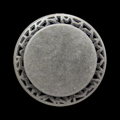 www.Knopfparadies.de - 0446as - Eindrucksvolle Ösenknöpfe aus Metall mit Durchbruch in Altsilber