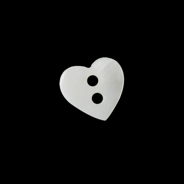 Süßer kleiner weißer Perlmutt Knopf in Herz Form