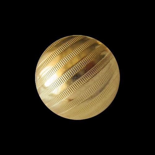 www.Knopfparadies.de - 1656go - Gestreifte Ösenknöpfe aus leichtem Metallblech in Gold