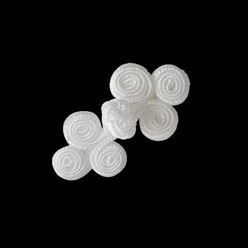 www.Knopfparadies.de - 1236we - Kleine spiralfömige weiße Posamentenverschlüsse