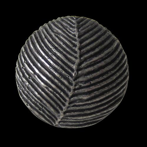www.Knopfparadies.de - 5311as - Stark gewölbte Knöpfe in Metall Optik mit Blatt Motiv
