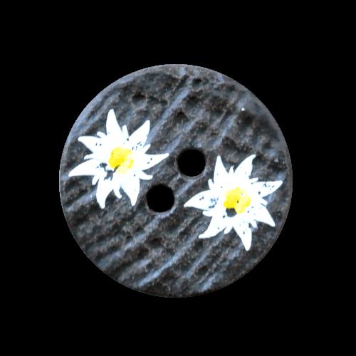 Brauner Knopf wie Hirschhorn mit Edelweißblüten