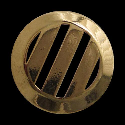 www.Knopfparadies.de - 4216go - Metallknöpfe mit Streifen Durchbruch