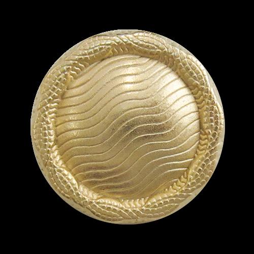 www.Knopfparadies.de - 3110go - Edle Metallknöpfe mit gewellten Linien in Gold & gekördeltem Rand