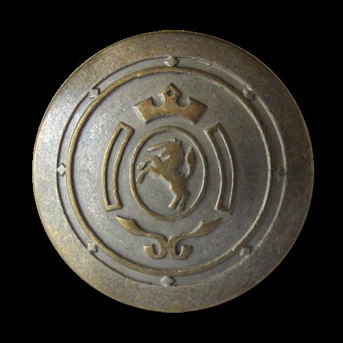 www.Knopfparadies.de - 0317em - Messing eisenfarbene Metallknöpfe mit Einhorn Wappen
