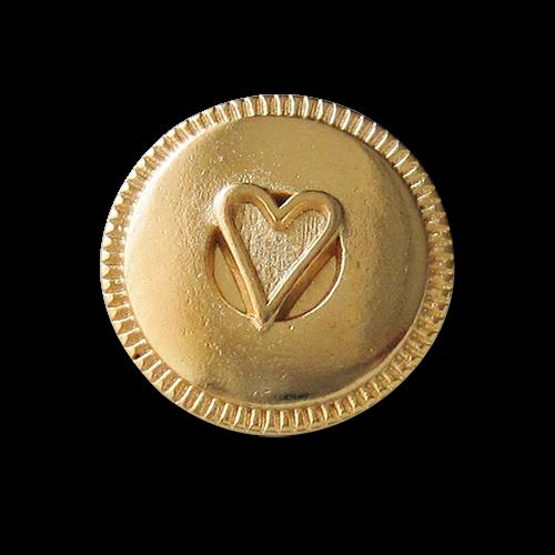 Glänzend goldfarbener Metall Ösen Knopf mit Herz