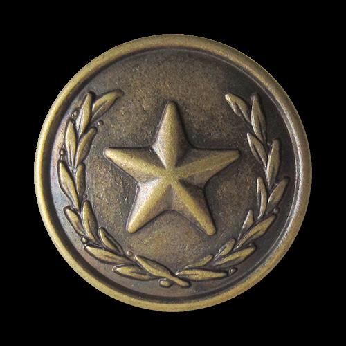 www.Knopfparadies.de - 1618am - Eindrucksvolle altmessingfarbene Metallknöpfe mit Stern Motiv