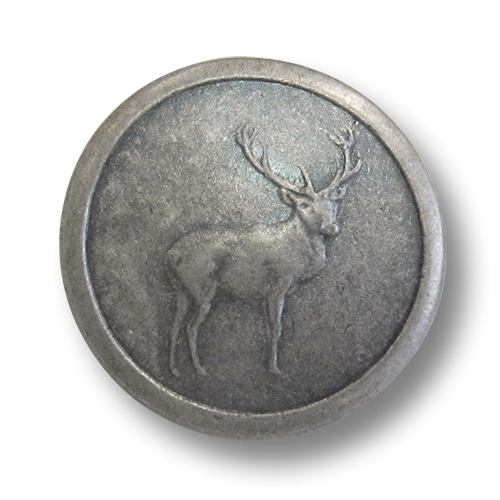www.Knopfparadies.de - j053as - Zinnfarbene Ösenknöpfe aus Metall mit Hirschmotiv / B-WARE
