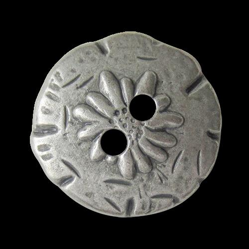 www.Knopfparadies.de - 0436zi - Urige Metallknöpfe mit Edelweiß in Silber bis Zinnfarben
