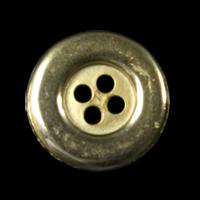 Goldfarbener Vierlochknopf mit Randinschrift / B-WARE