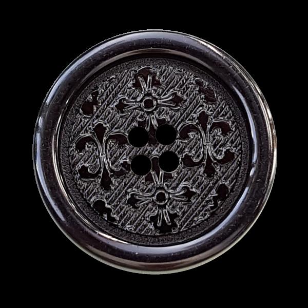 Schwarze Knöpfe mit Lilienmuster mit glattem Rand